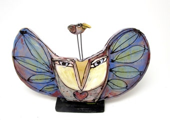"Clay Owl sculpture / Owl Figurine, whimsical owl art, ceramic owl art, ""Owl and the Dancing Beauty Bird in LOVE"", 9-1/2"" wide"