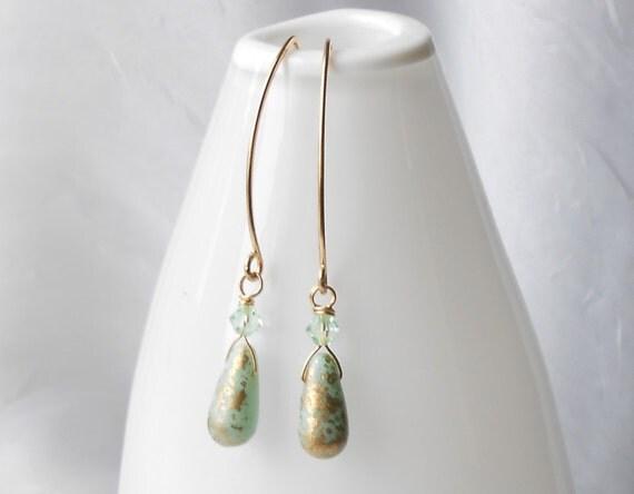 Long Gold Dangle Earrings, Mint Green Glass Drop Earrrings