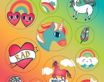 Rainbow and Unicorn Stickers