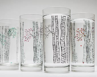 Birch Tree Glasses - Set of 4 Personalized Birch Trees Glassware, Birch Tree Themed Wedding, Personalized Wedding, The Four Seasons Glasses