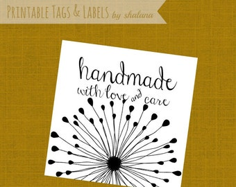 PDF Printable Hang Tags with a Dandelion - Handmade with Love and Care Labels