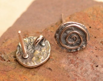 Rustic Spiral Earring Posts in Sterling Silver, EP-622