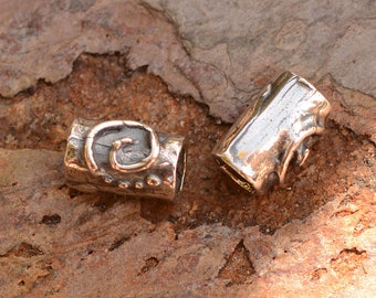 Two Spiral and Dotted Tube Beads in Sterling Silver, AD-506