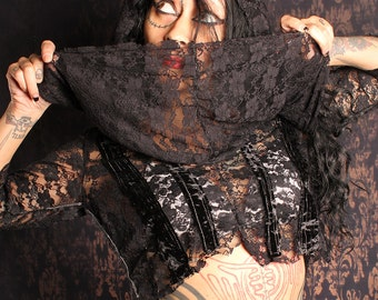 Black Lace Huge Hood Top, oversize cowl shirt, gothic crop top, Festival fashion, patchwork hoodie, boho hood top, gypsy top, stipe blouse
