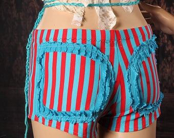 Carnival Stripe Shorts, polka dot ruffle butt booty shorts, red and blue hotshorts, beach wear, Festival wear, circus clown, steampunk