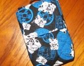 Travel Medication or Jewelry Holder with Quilted Japanese Fabric Case Maneki Neko Design Blue