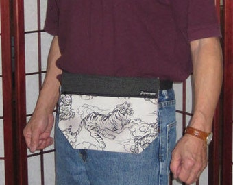 Japanese Tigers and Dragons Design Mens' Waist Fanny Pack Pouch Gray