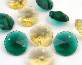 10 pcs vintage two hole faceted beads, emerald green and topaz octagonal glass beads, 14mm