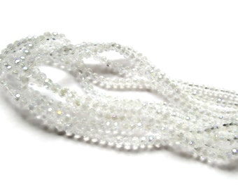 100 4mm Beads Clear Crystal Beads Faceted Round Beads Full Strand 16 Inches Crystal Glass Beads