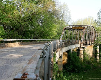 Old Bridge Architecture Photo - 8x10 Devil's Elbow Documentary Photograph - Woods and Stream - Historic Route 66 Bridge Photo - Green Forest
