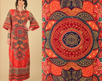 Dashiki Maxi Dress ViNtAgE 60's 70's Indian Cotton Psychedelic MANDALA Ornate Angelwing Ethnic  Hippie Gypsy Festival Small Medium S M