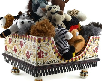 Bella's Daisy Doodle Pet Toy Box,  jakey BB Doggy Toy Box, Bones & Paws Design Toy Box