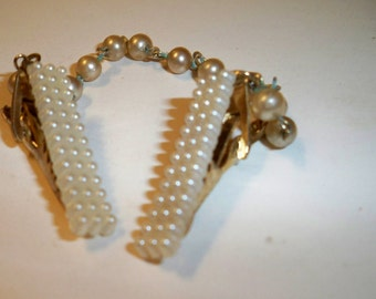 Pearl Sweater Clip, Vintage Sweater Guard, Women's Accessories, Vintage Pearl Sweater Clip, Classic Pearl Accessory, Wedding, Prom Accessory