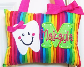 Girls Personalized Tooth Fairy Pillow Rainbow Stripes boutique custom made