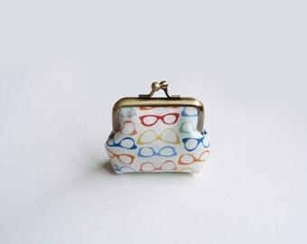 Coin purse, spectacles fabric, multi colour glasses design, cotton purse