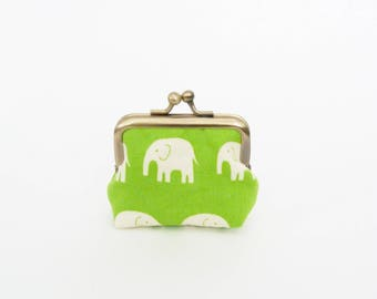 Coin purse, elephant fabric, green and cream cotton elephant purse, cotton purse