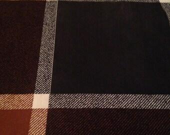 Vintage Brown Black Plaid Print Cotton - 2 1/3 Yards -  Fabric Yardage /Cotton Fabric /1960s Fabric /1960s Cotton/60s - Flawed