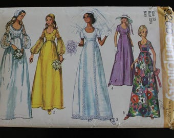 "1971 Simplicity ""Misses' Wedding Dress Bridesmaid Dress and Cap Pattern #9260 Sz 10 Bust 32.5 -  70s Simplicity / Wedding Dress / Maxi dress"