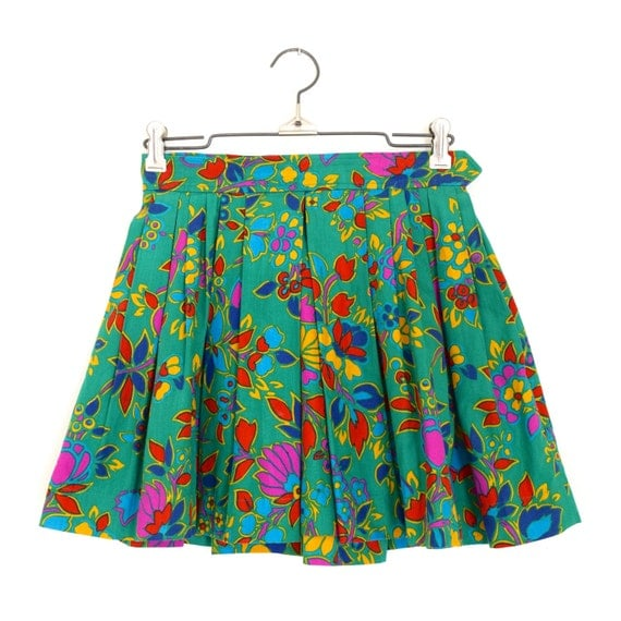 Vintage 80s 90s SAINT LAURENT rive gauche High Waisted Green Floral Print Pleated Micro Mini Skirt (size xs)
