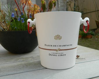 White Champagne Bucket. Duval-Leroy Champagne - French Vintage advertising - White  ice bucket