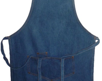 Classic Heavy Denim Chef - Shop - Studio -Apron with the Jean Style Hardware  Custom Embroidered and Personalized