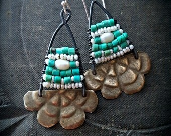 Kuchi Earrings, Banjara Jewelry, Flowers, Turquoise, Pearls, Vintage, Unique, Organic, Primitive, Stamping, Recycled, Beaded Earrings