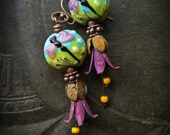 Flowers, Lampwork Glass, Dragonfly, Copper Flowers, Vintage, Vintage Findings, Artisan Made, Earthy, Organic, Beaded Earring
