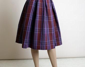 Vintage 1960s Skirt - Plaid Plum Purple and Dark Burgundy Box Pleat Cotton Day Skirt - School Girl - Small XS 22 inch waist