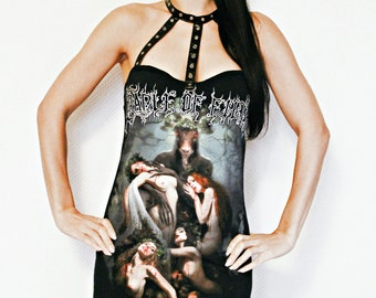 Cradle of Filth Mini Dress Black metal clothing alternative apparel reconstructed altered band shirt