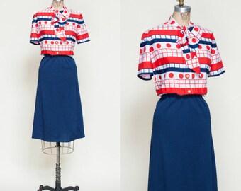 Vintage Secretary Dress --- 1960s Neck Tie Dress