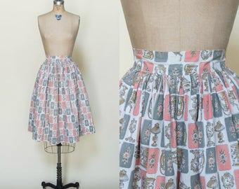 1950s Novelty Print Skirt --- Vintage Pink Skirt
