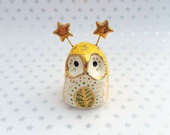 Sunny Yellow Fairy Owl Ceramic Figurine