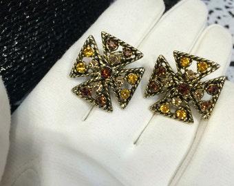 1960s clip on vintage earrings gold maltese cross iron cross vintage Rhinestone topaz Stone