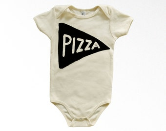 Organic Cotton Pizza Baby Bodysuit, christmas gift for husband, unisex onesie, baby shower gift for new mom, newborn clothes