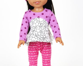 Fits like Wellie Wishers Doll Clothes - Flower Doodle Tunic, Hot Pink Leggings, and Beanie