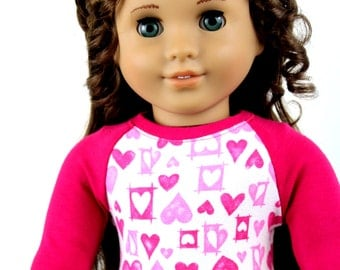 Fits like American Girl Doll Clothes - Hot Pink Valentine's Day Baseball Tee