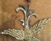Marrakesh ~ antique rhinestone bird leather steelcut tribal summer necklace