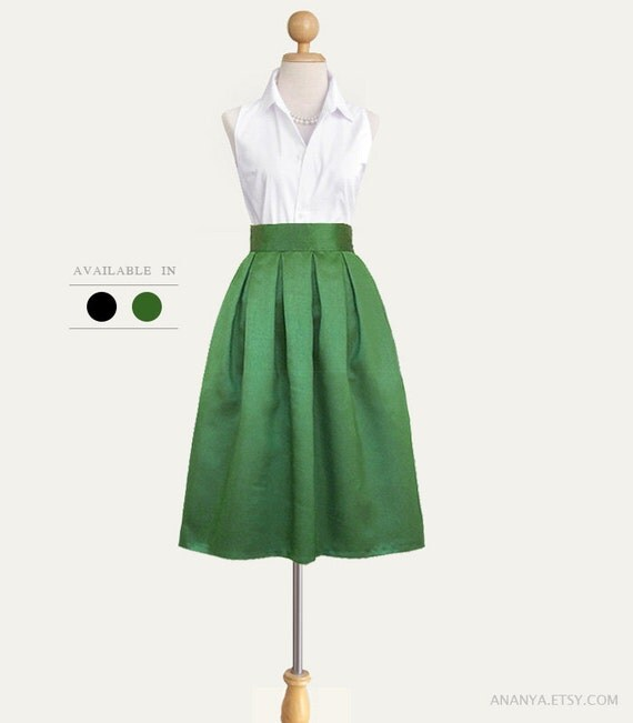 Shantung fully lined pleated midi skirt with pockets - custom size, length and colors in black and green