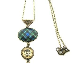 Scottish Tartan Jewelry - Graham Clan Tartan Necklace w/Luckenbooth Charm and Onyx Black Czech Glass Bead