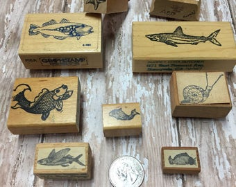 Vintage Rubber Stamps, Rubber Stamp Lot , Beach Stamps , Sea theme , Fish , Craft Stamps , Coy Fish , Crab, starfish , seaweed , ocean