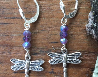 Sterling Mystic Amethyst Dragonfly Earrings