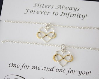Sisters Necklace Gift Set, 2 Infinity Heart Necklaces, Best Friend, Set of two, Sterling Silver and Gold, Sister Gift, Gift