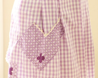 Vintage Lavender Chicken Scratch Half Apron For Women Purple And White Gingham With White Gold Trim
