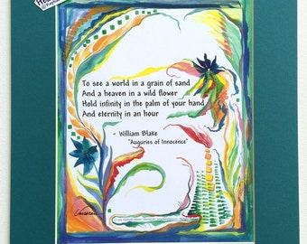 To See a World WILLIAM BLAKE 11x14 Print Yoga Meditation Literary Quote Auguries Inspirational Motivation Heartful Art by Raphaella Vaisseau