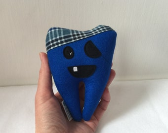 """SALE My Itty Bitty Pirate Tooth Fairy Pillow 5"""" in Royal Blue Wool Felt, ready to ship"""