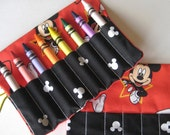 Crayon Roll Wallet Mickey Mouse in Star Includes 8 Crayons