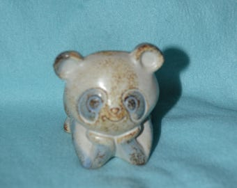 Vintage 70s Counterpoint Stoneware Panda Bear Votive Candle Holder Made in Japan