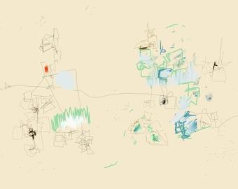 Canvas Gallery Wrap, Canvas Print, Modern Art , Wall Art, Expressionism, Mid Century, Original Digital Art Print, Art Print