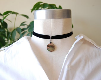 The Dark Moon chocker /velvet chocker / shell / iridescent / boho / cosmic / chocker necklace / dark moon