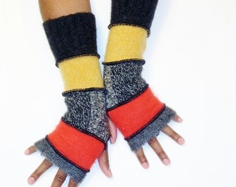 Fingerless Gloves,Armwarmers,Patchwork Gloves(Grey Mohair/Orange/Patched Heather Grey/Marigold/Charcoal)by BrendaAbdullah